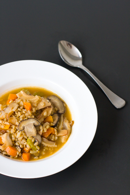 Shiitake and barley soup