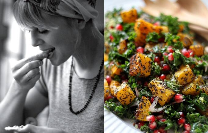 Sarah Britton's own poppy seed crusted butternut squash with kale and pomegranates