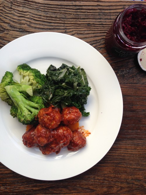 Meat balls and greens – my winter go to dinner